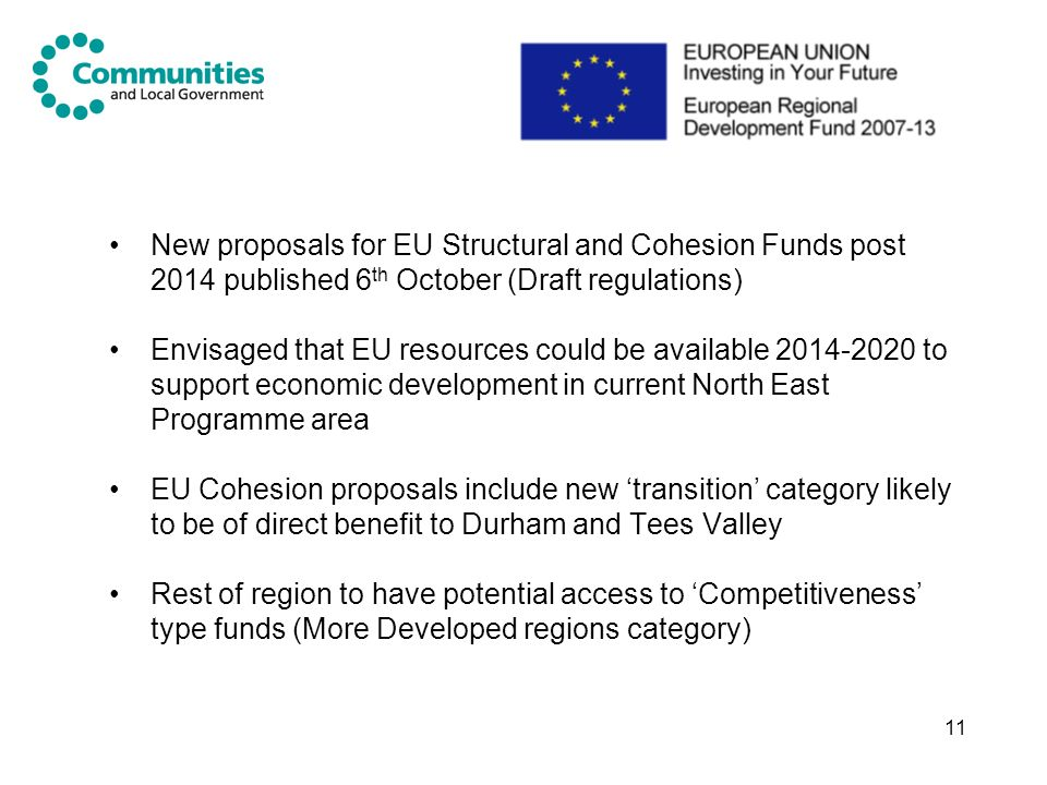 New proposals for EU Structural and Cohesion Funds post 2014 published 6th October (Draft regulations)