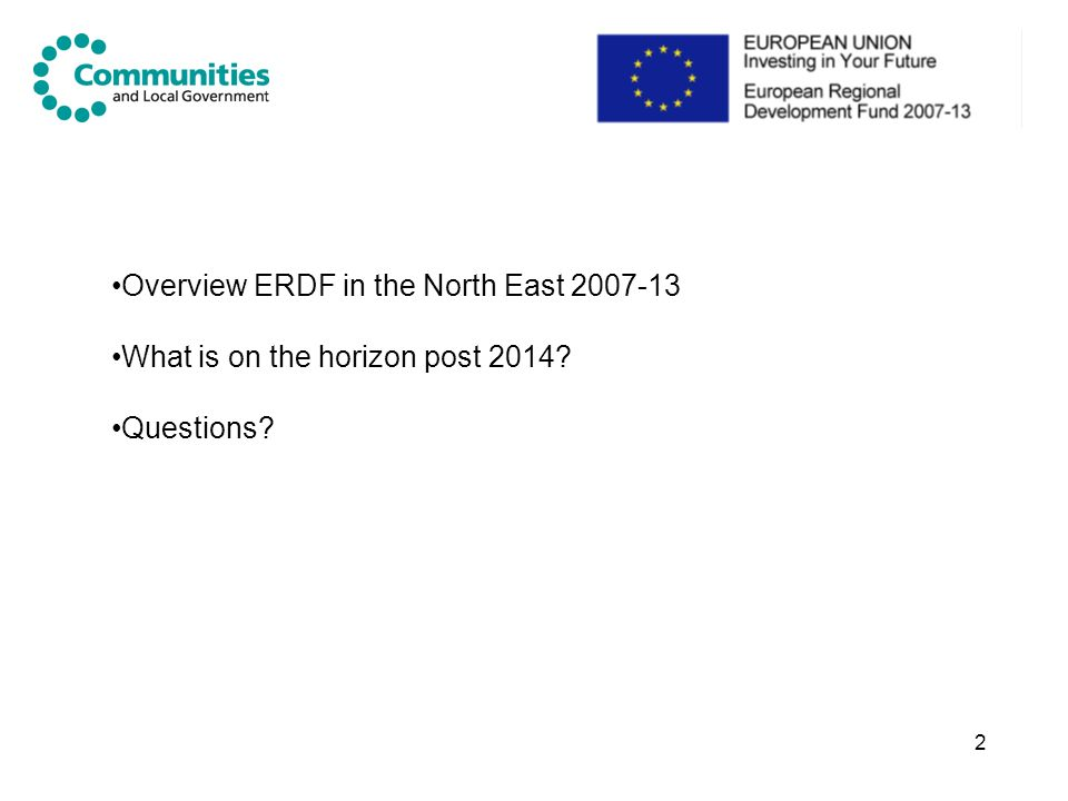 Overview ERDF in the North East