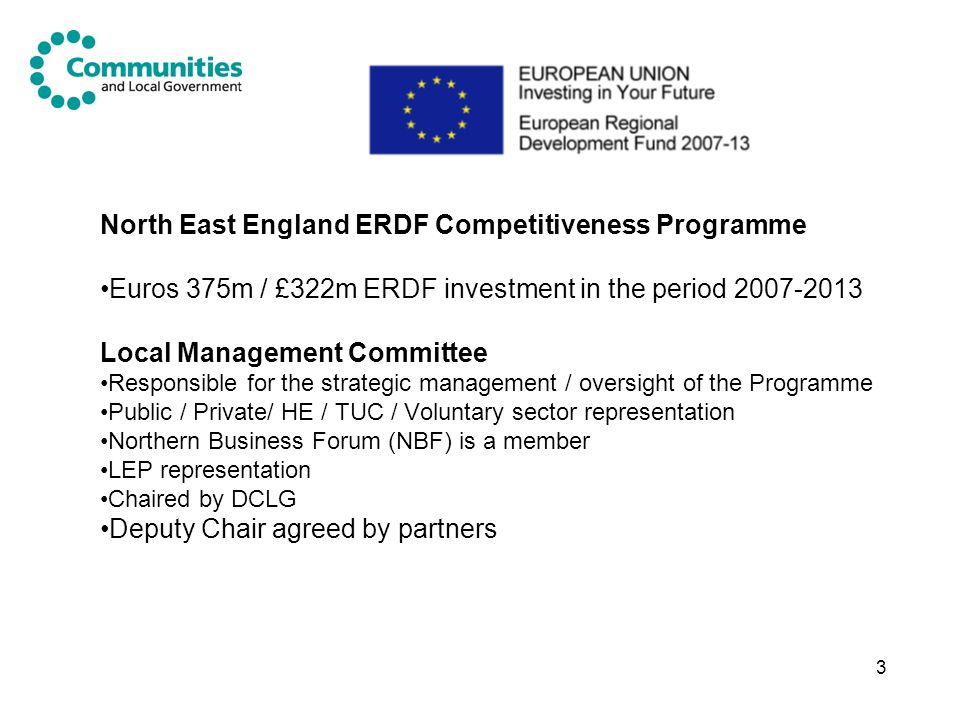 North East England ERDF Competitiveness Programme