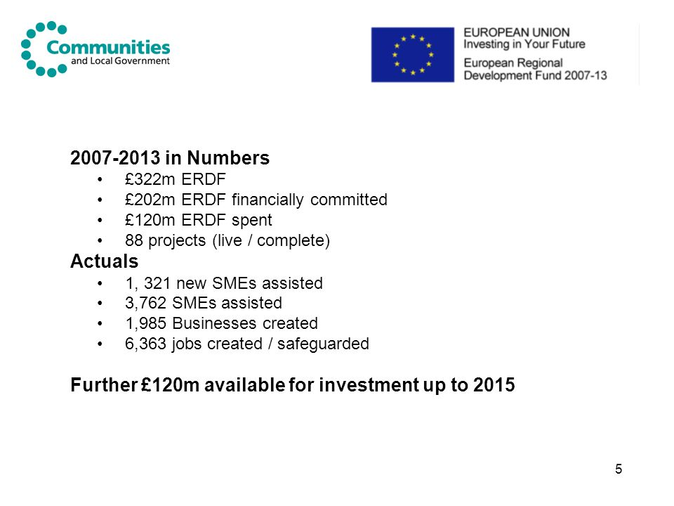 Further £120m available for investment up to 2015