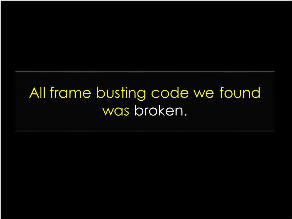 All frame busting code we found was broken.