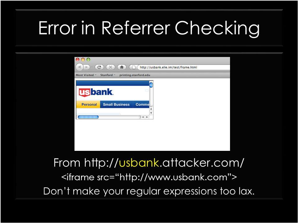 Error in Referrer Checking