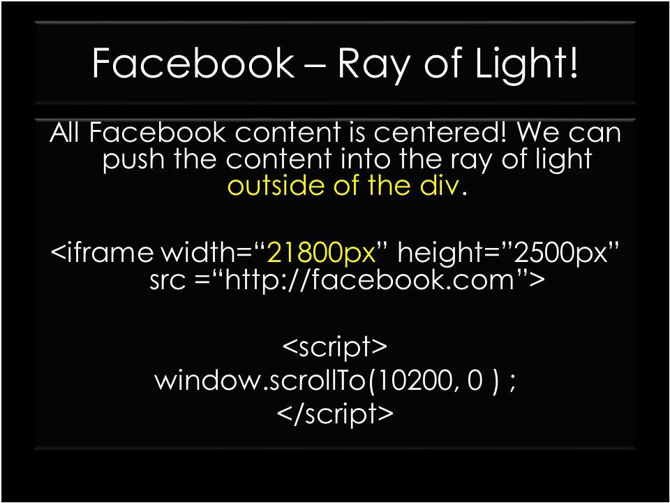 Facebook – Ray of Light!