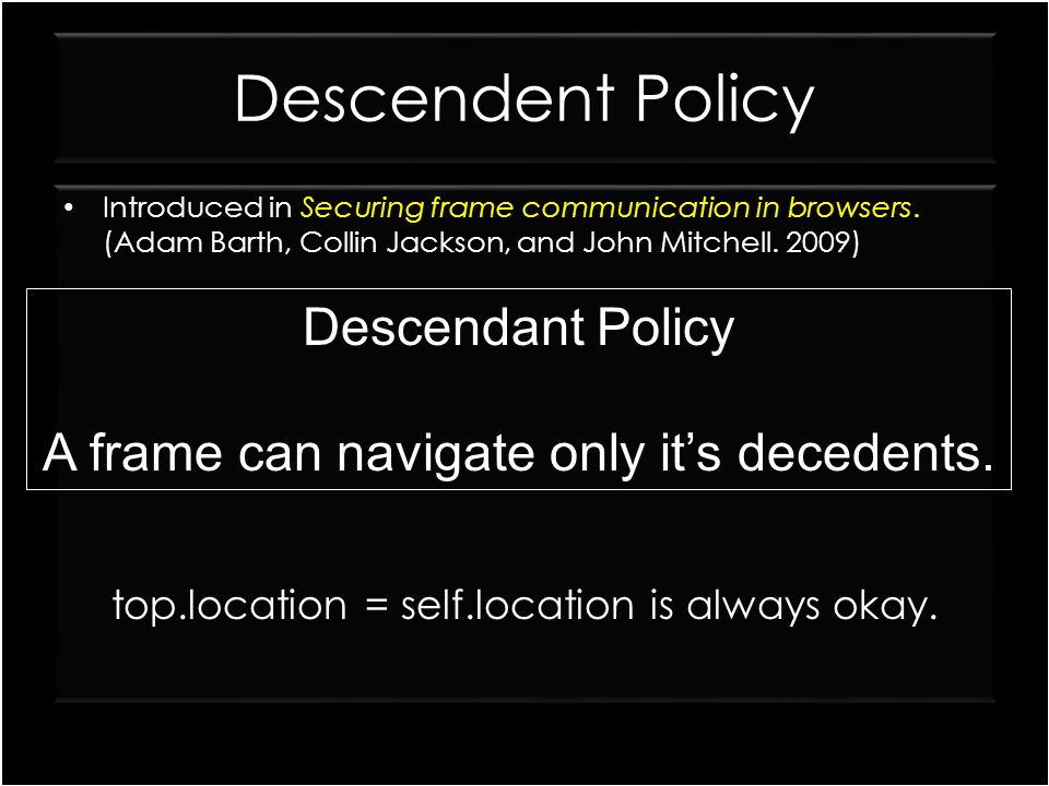 Descendent Policy Descendant Policy