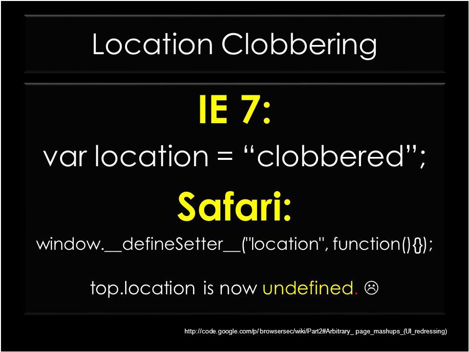 IE 7: Safari: Location Clobbering var location = clobbered ; IE 7: