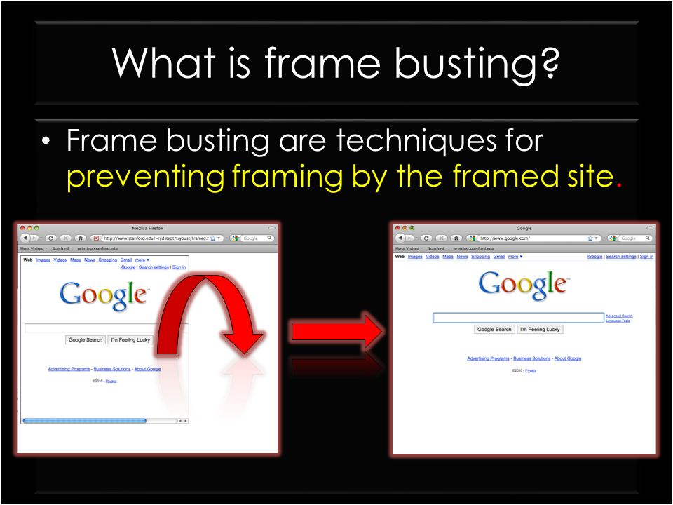 What is frame busting Frame busting are techniques for preventing framing by the framed site.