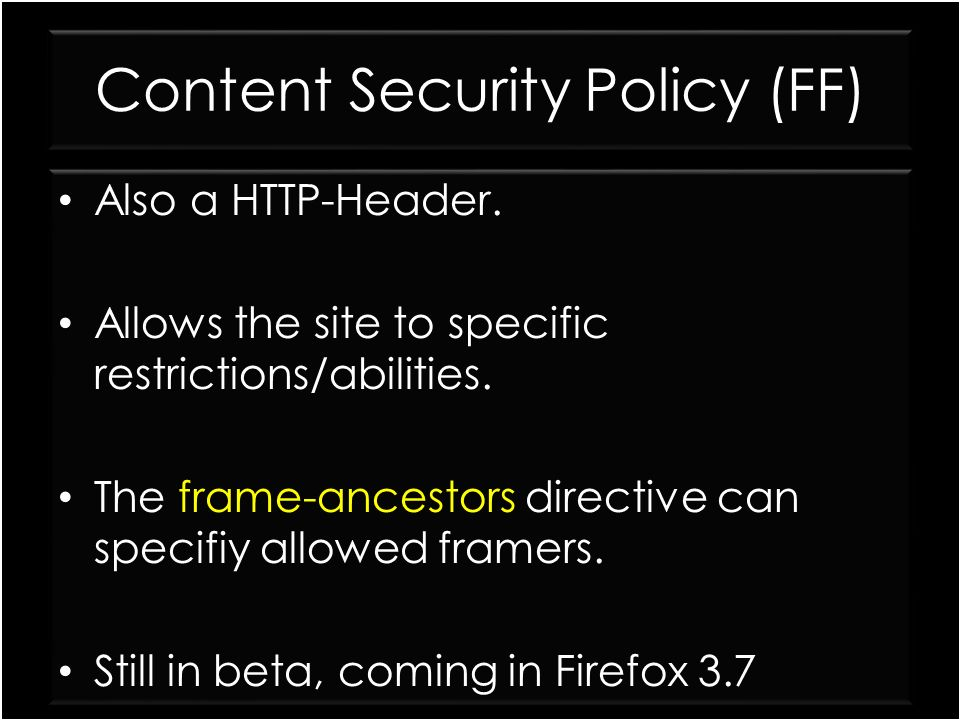 Content Security Policy (FF)