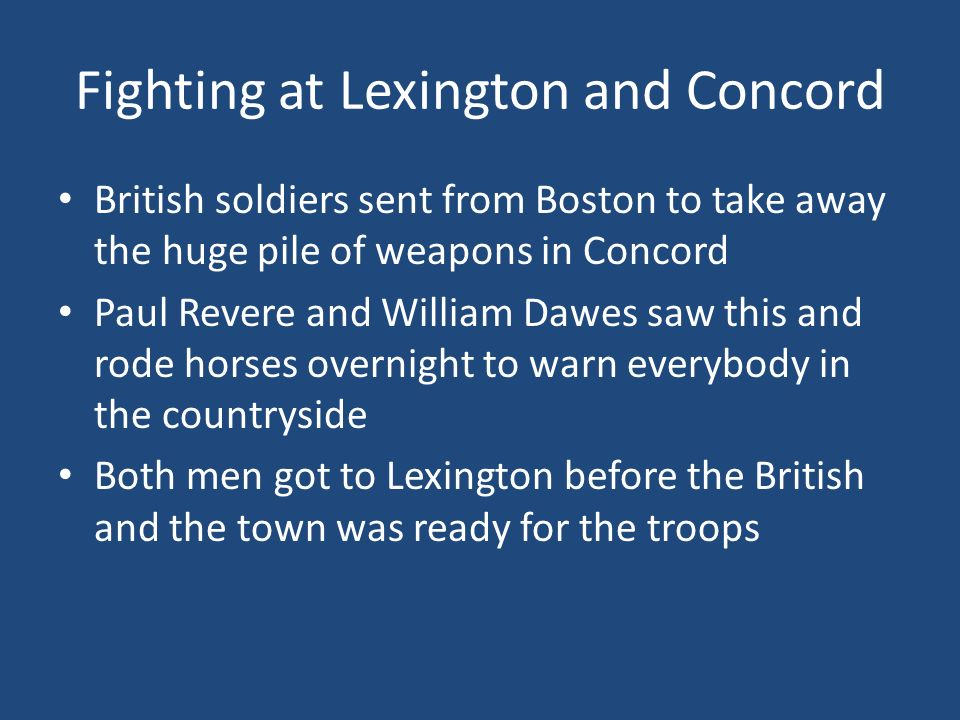 Fighting at Lexington and Concord
