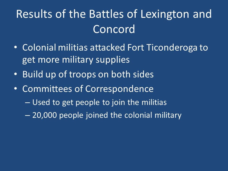 Results of the Battles of Lexington and Concord
