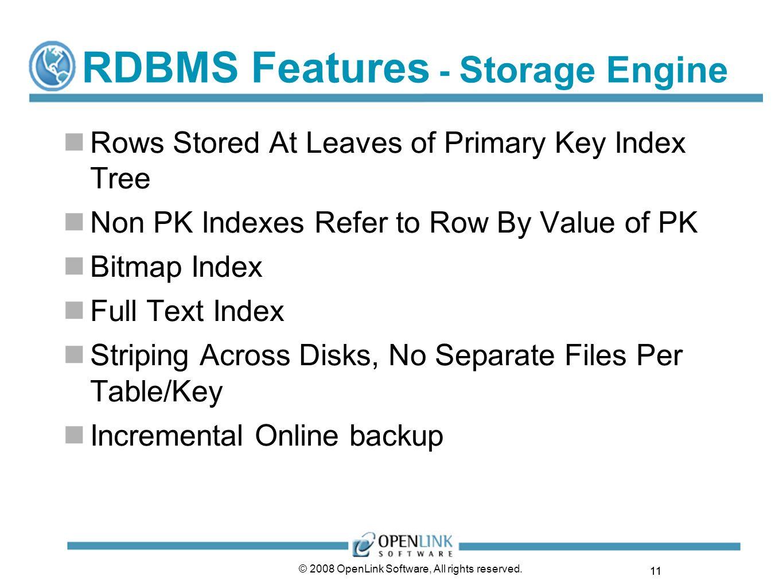 RDBMS Features - Storage Engine