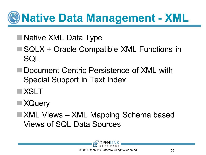 Native Data Management - XML