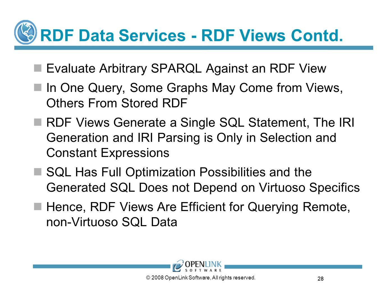 RDF Data Services - RDF Views Contd.
