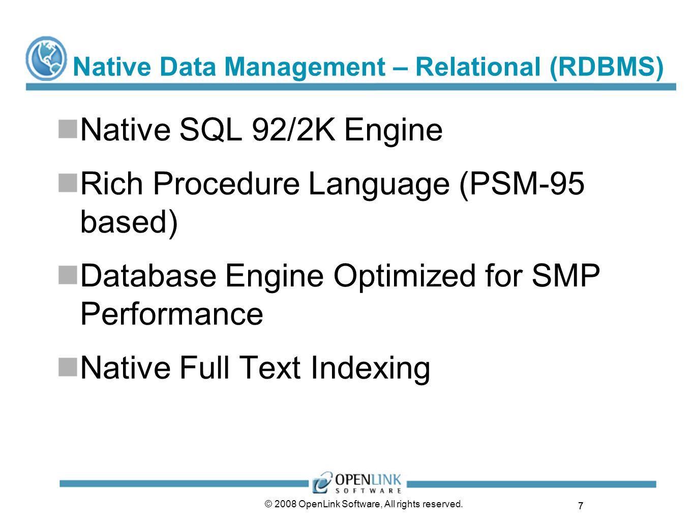 Native Data Management – Relational (RDBMS)