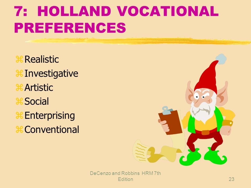 7: HOLLAND VOCATIONAL PREFERENCES