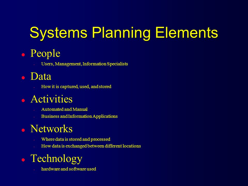 Systems Planning Elements