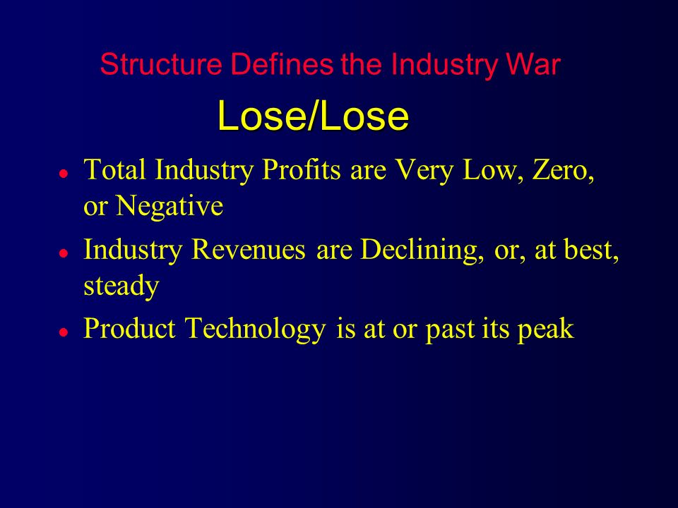 Lose/Lose Structure Defines the Industry War