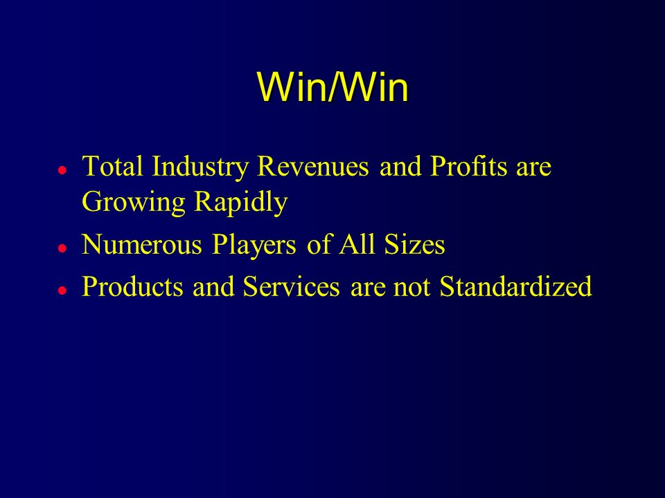 Win/Win Total Industry Revenues and Profits are Growing Rapidly