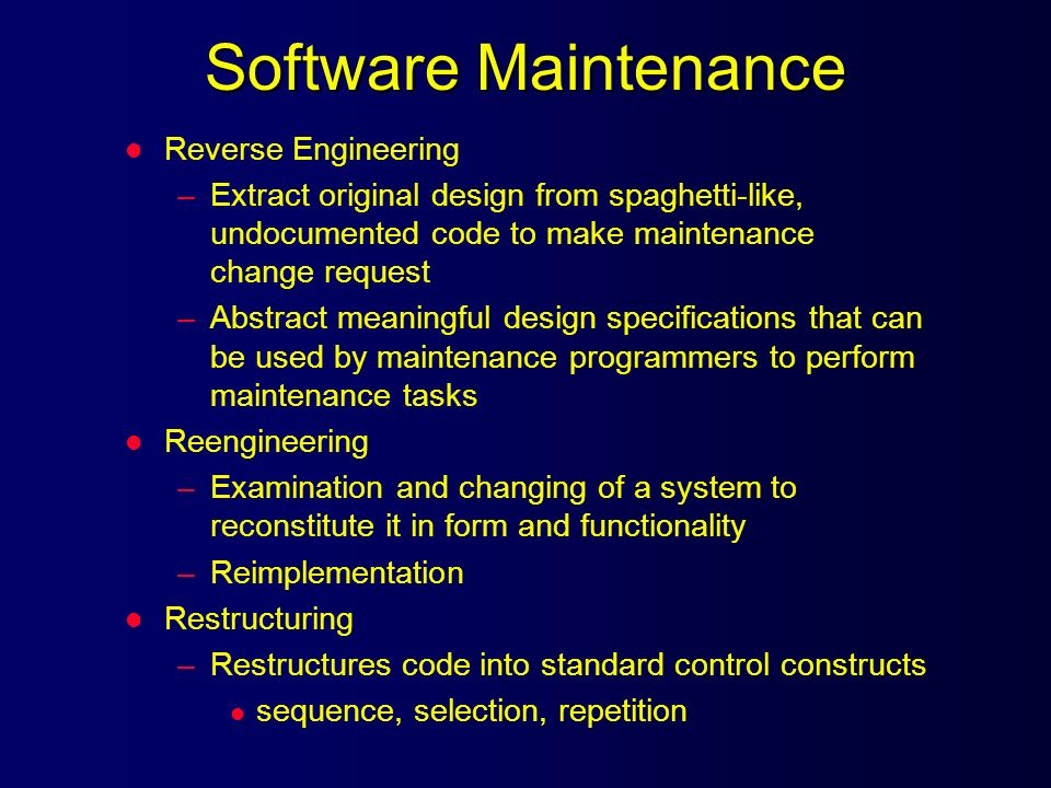 Software Maintenance Reverse Engineering