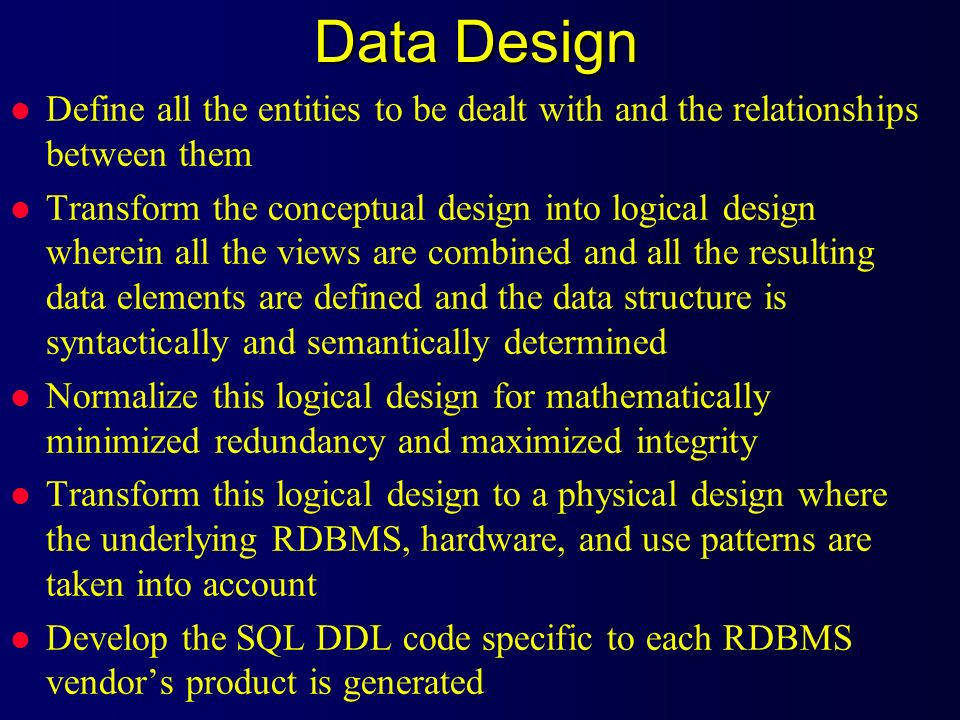 Data Design Define all the entities to be dealt with and the relationships between them.