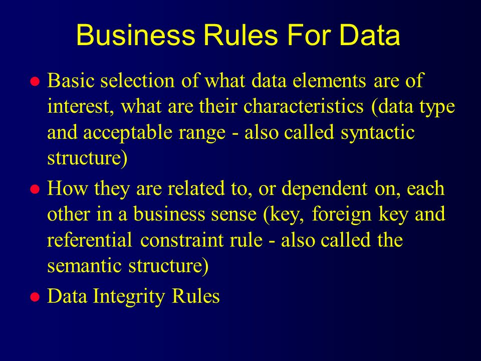 Business Rules For Data