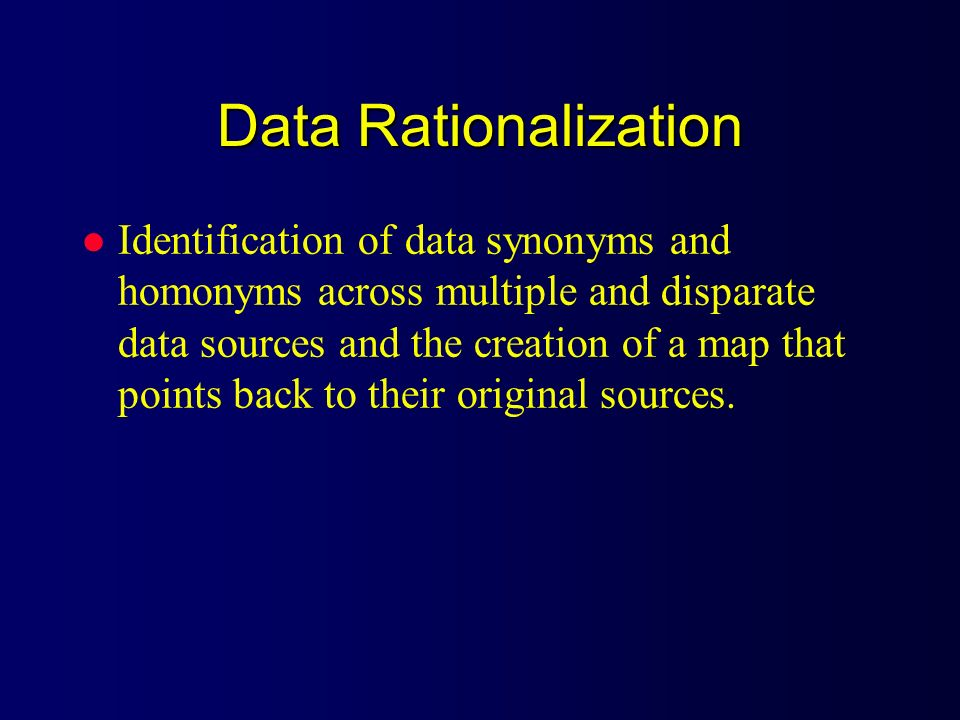 Data Rationalization