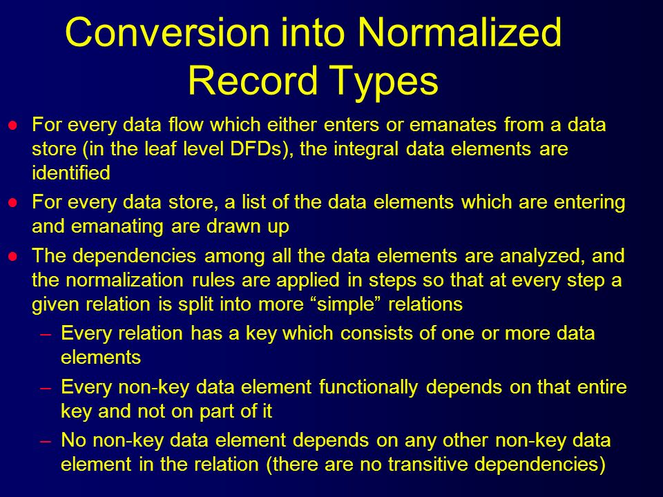 Conversion into Normalized Record Types