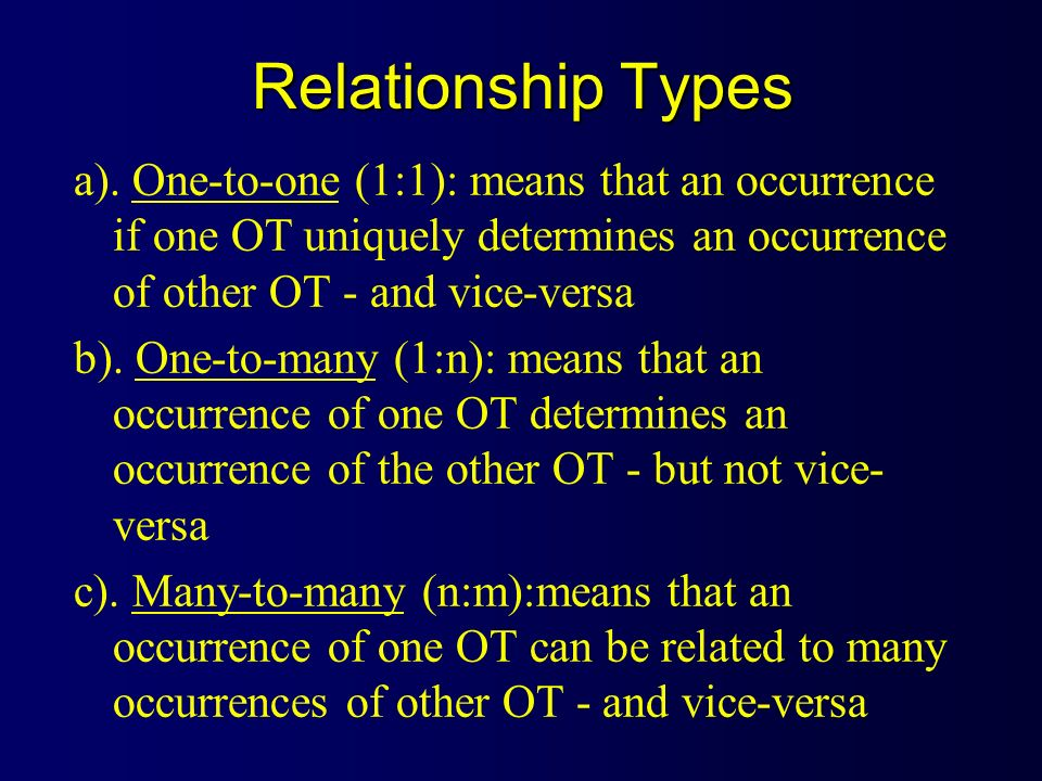 Relationship Types a). One-to-one (1:1): means that an occurrence if one OT uniquely determines an occurrence of other OT - and vice-versa.
