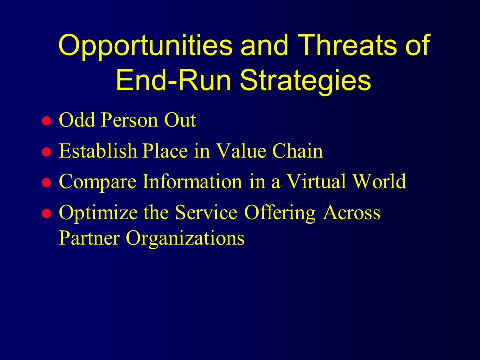 Opportunities and Threats of End-Run Strategies