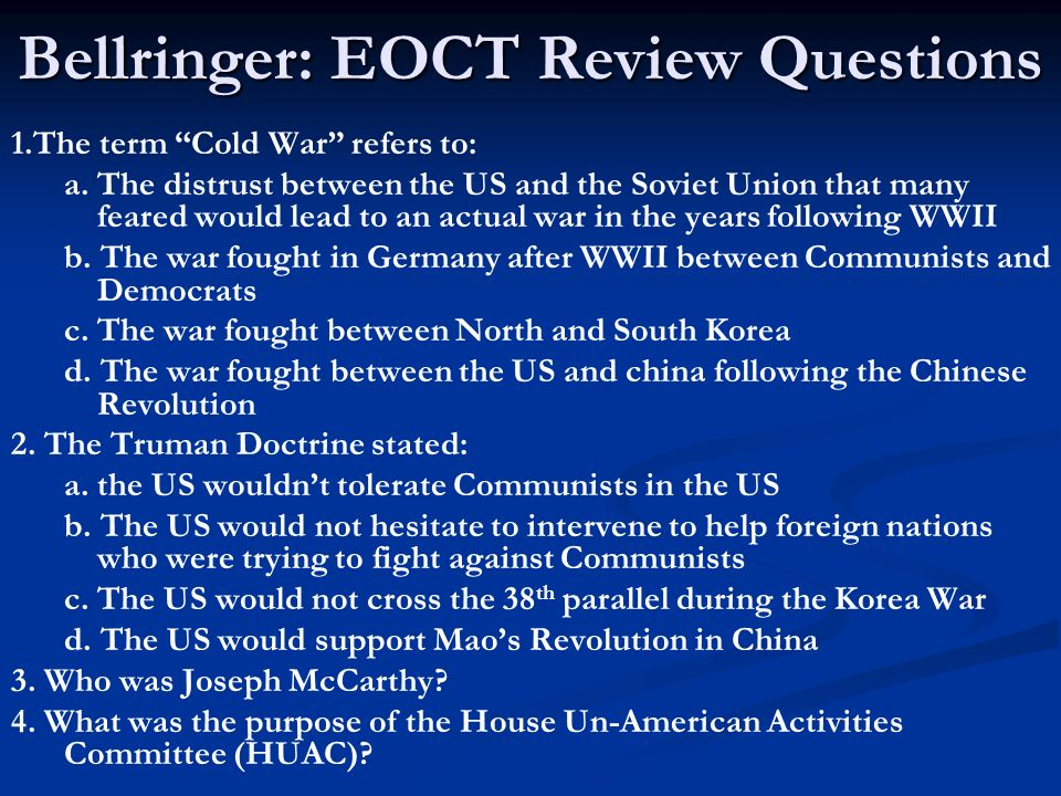 cold war dbq essay questions Global history and geography wednesday part iii b contains one essay question based on the documents i waged war against the.