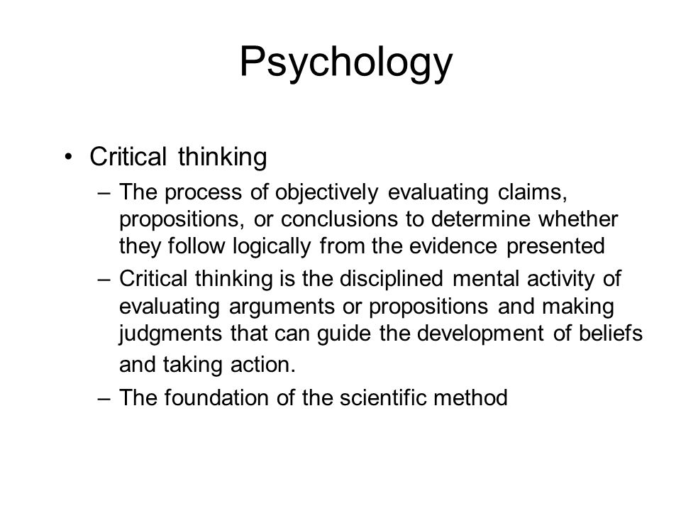 Psychology Critical thinking