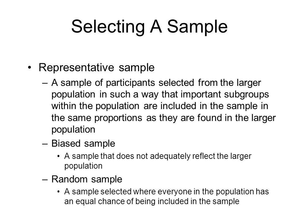 Selecting A Sample Representative sample