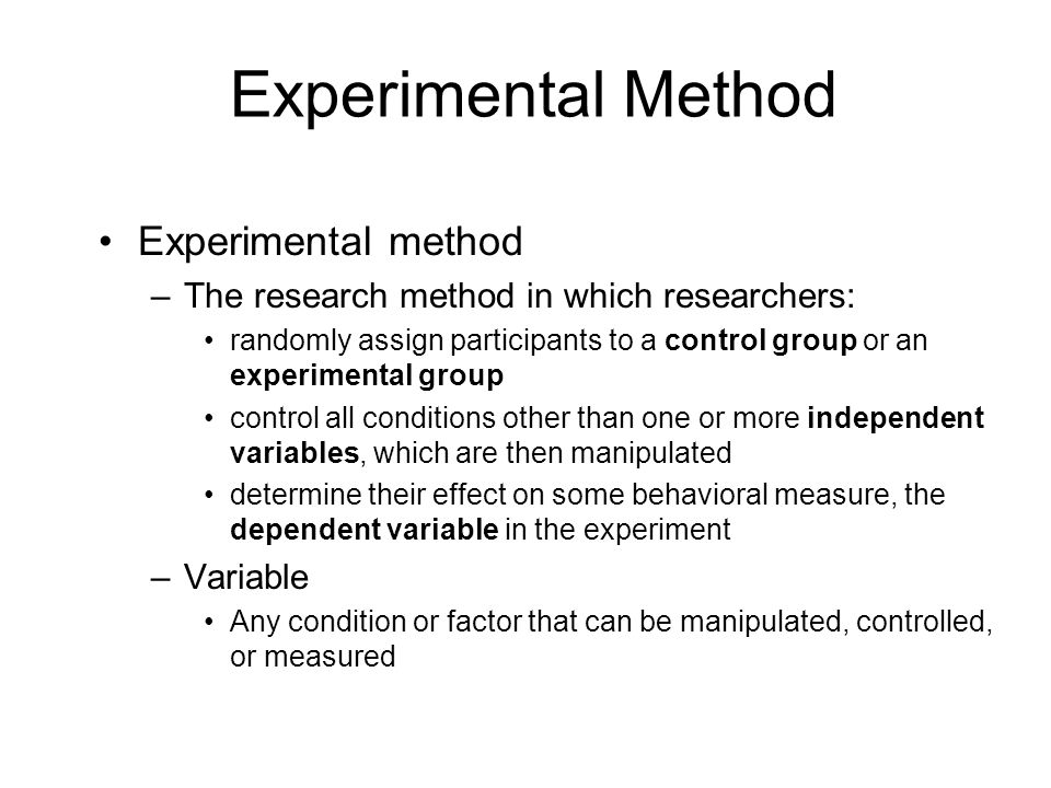 Experimental Method Experimental method