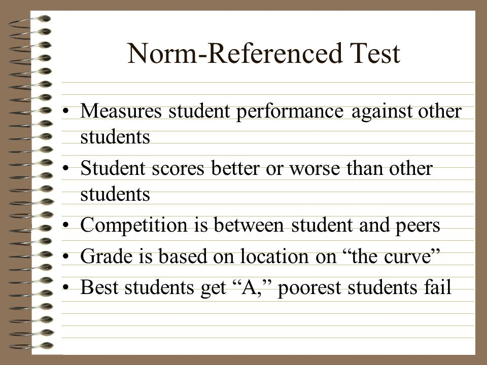 Norm-Referenced Test Measures student performance against other students. Student scores better or worse than other students.