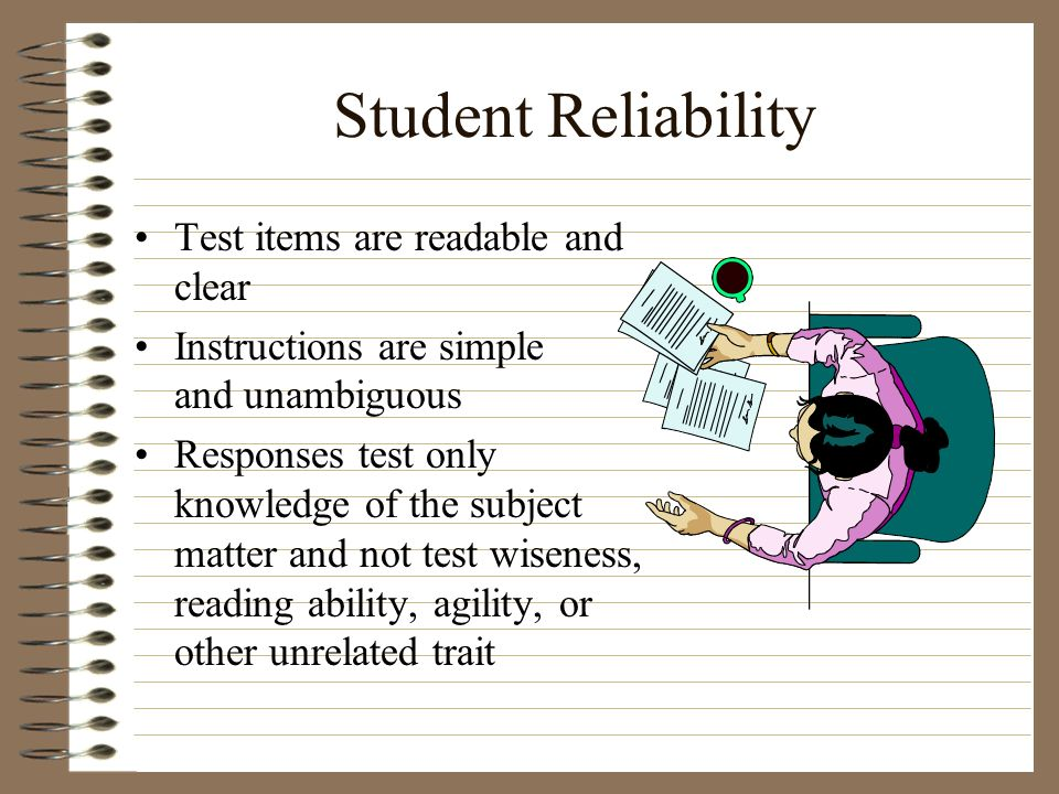 Student Reliability Test items are readable and clear