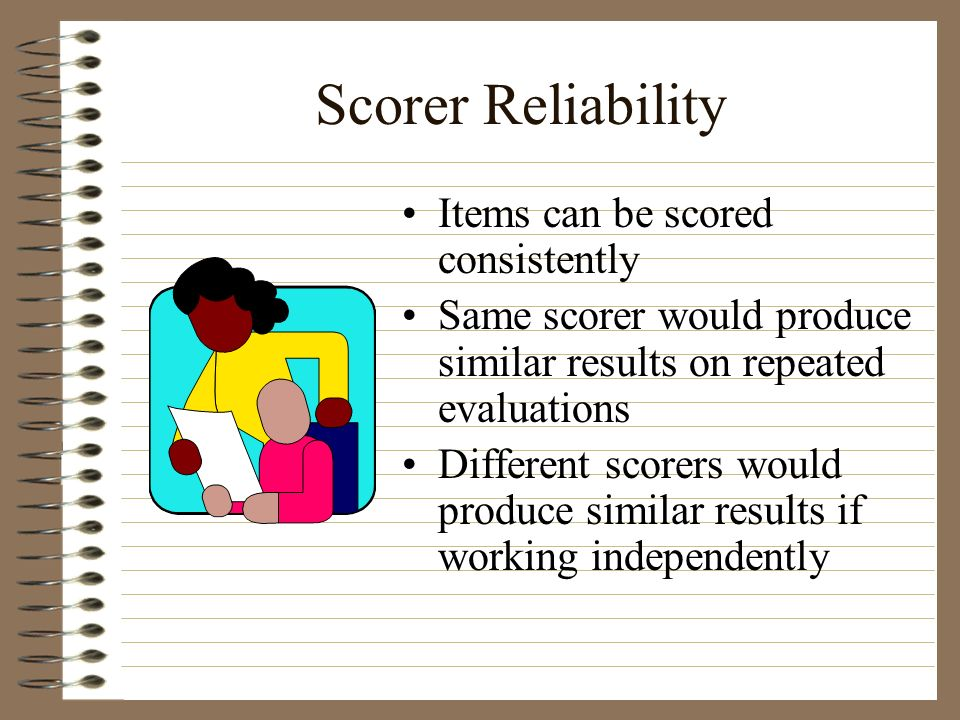 Scorer Reliability Items can be scored consistently