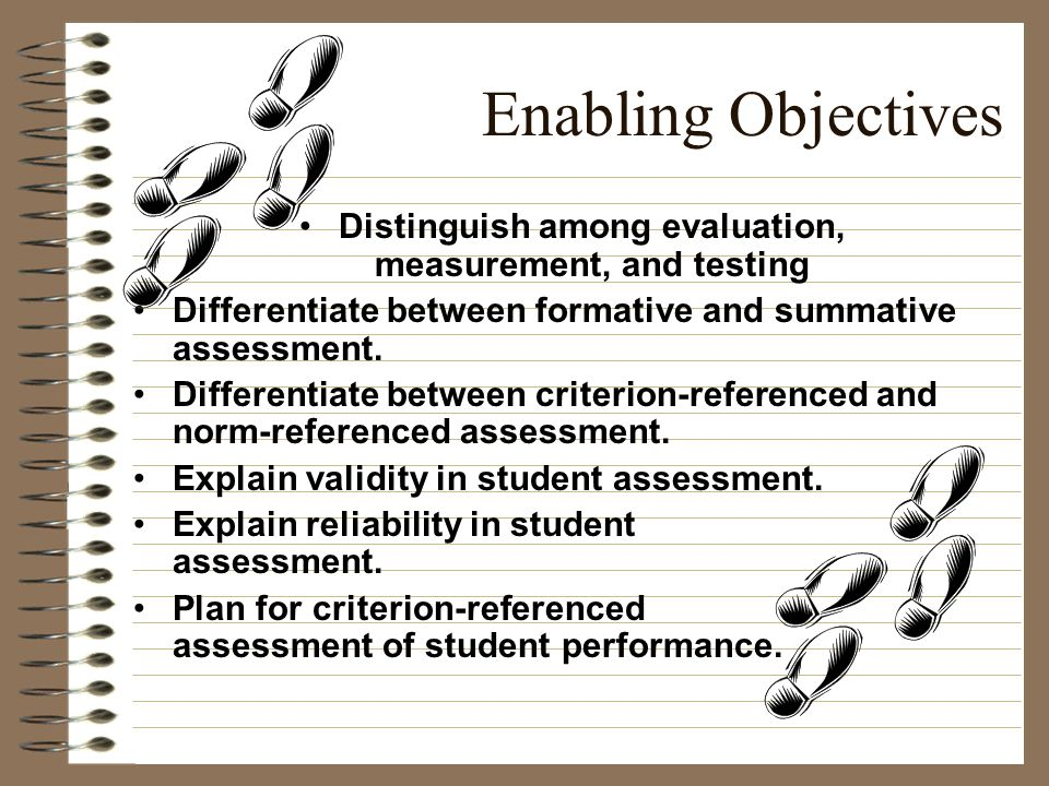 Distinguish among evaluation, measurement, and testing
