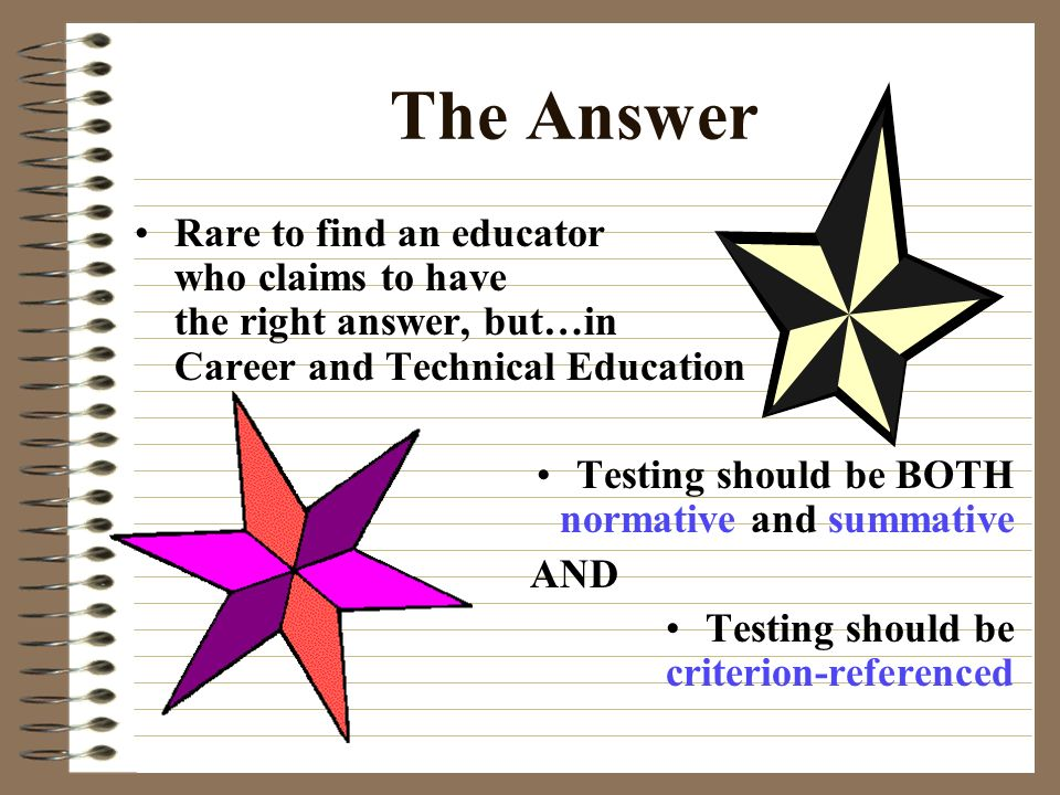The Answer Rare to find an educator who claims to have the right answer, but…in Career and Technical Education.