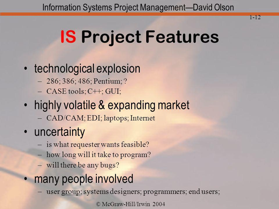 IS Project Features technological explosion