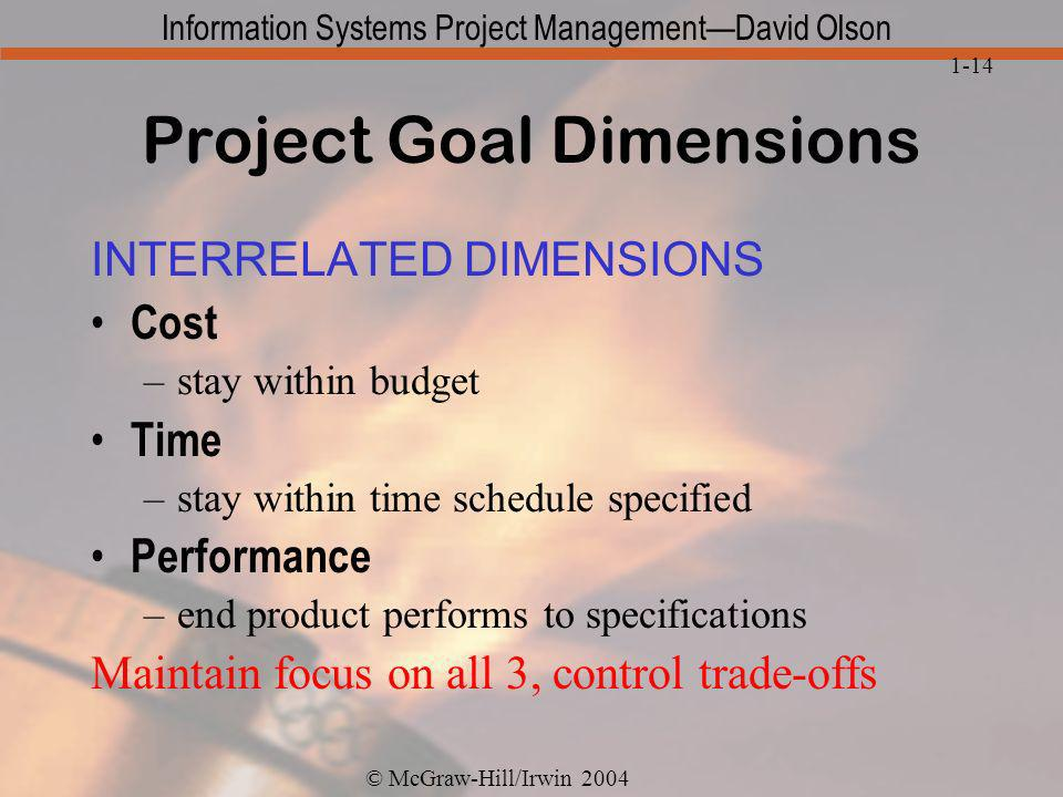 Project Goal Dimensions