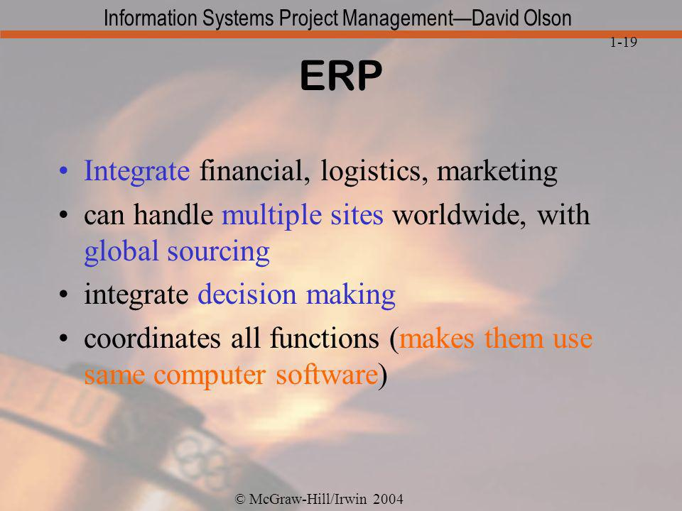 ERP Integrate financial, logistics, marketing