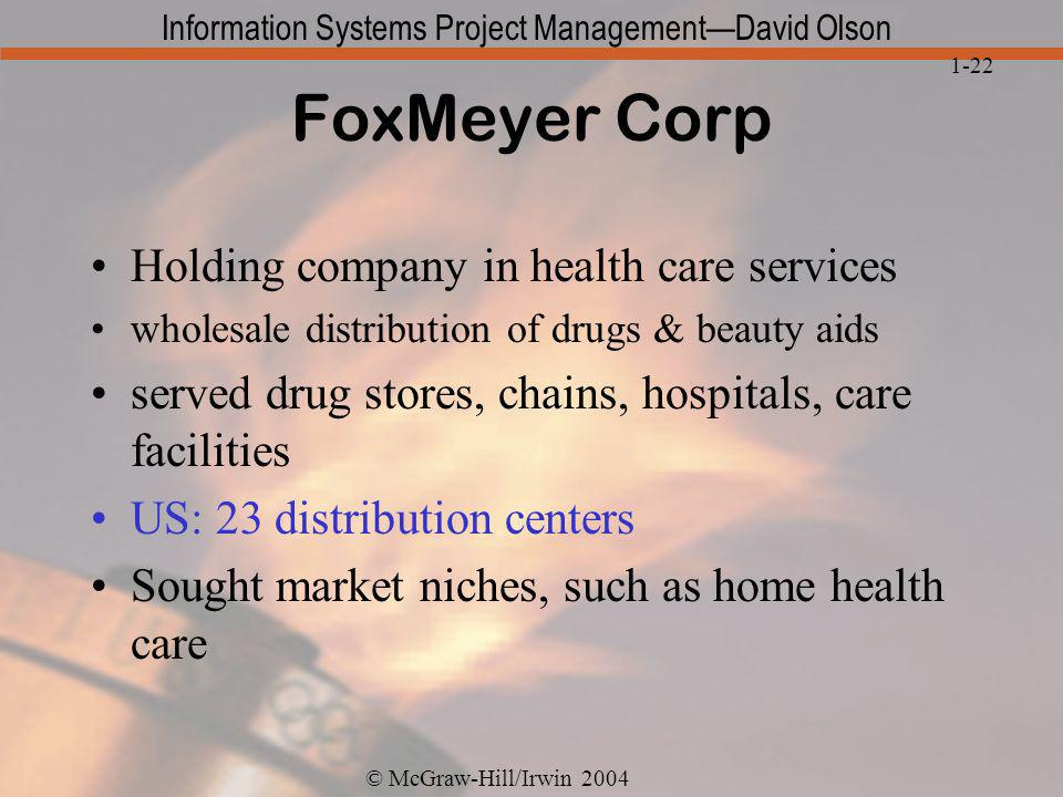 FoxMeyer Corp Holding company in health care services