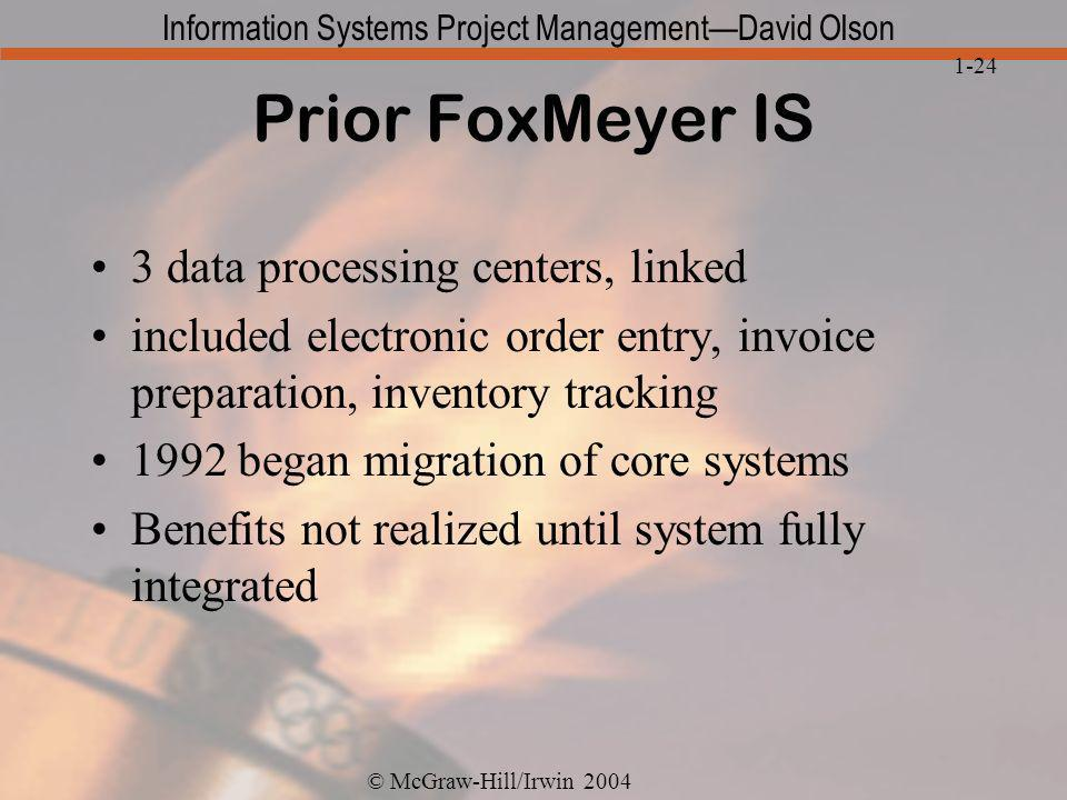 Prior FoxMeyer IS 3 data processing centers, linked