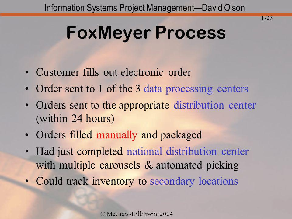 FoxMeyer Process Customer fills out electronic order