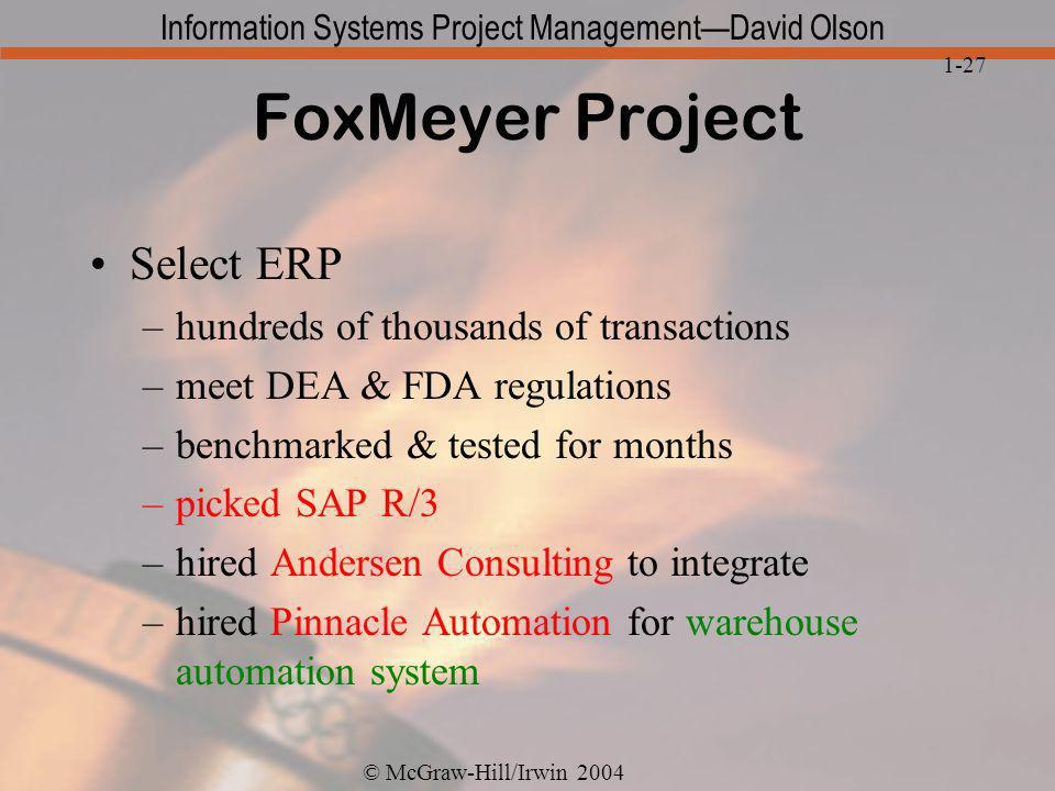 FoxMeyer Project Select ERP hundreds of thousands of transactions