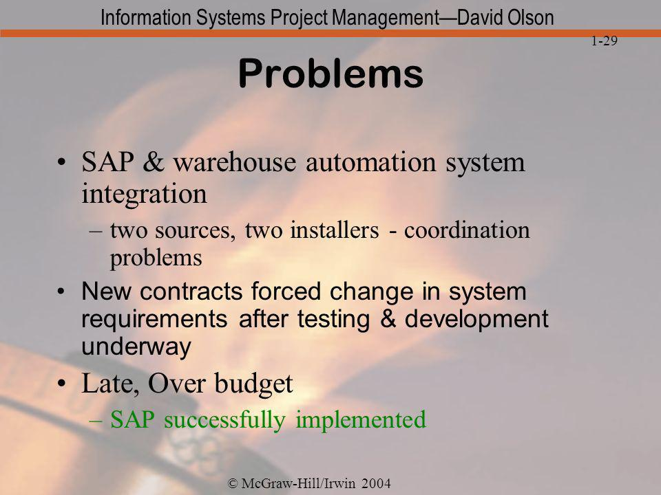 Problems SAP & warehouse automation system integration