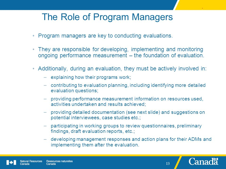 The Role of Program Managers