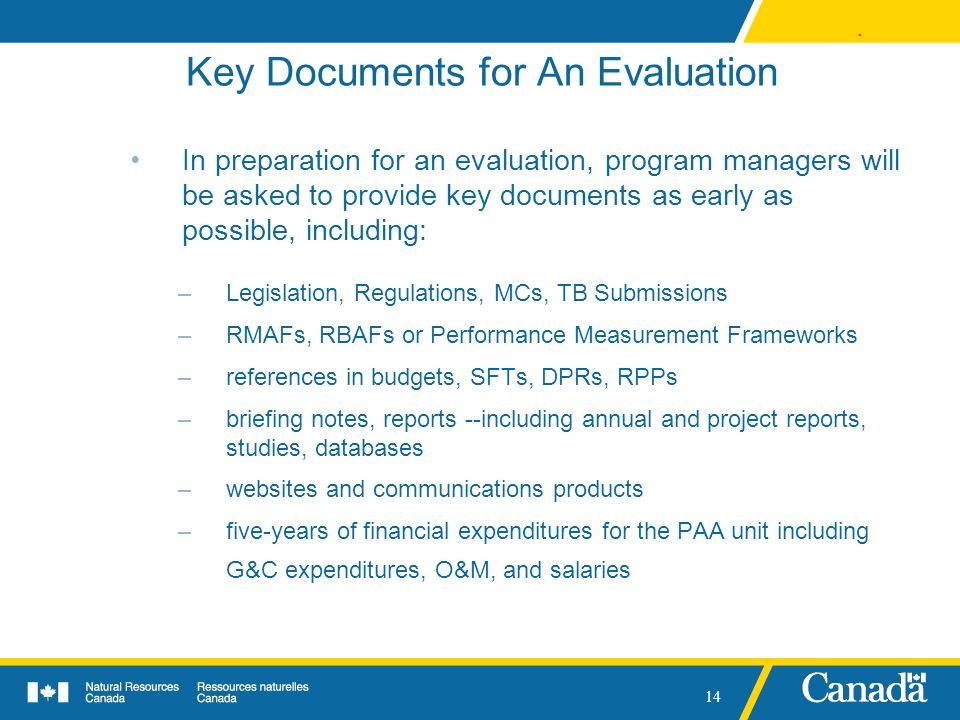 Key Documents for An Evaluation