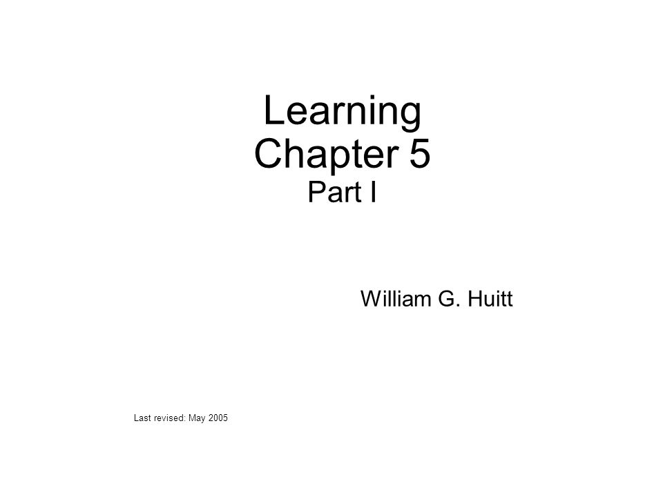 Learning Chapter 5 Part I