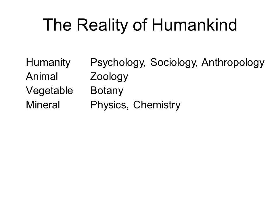 The Reality of Humankind