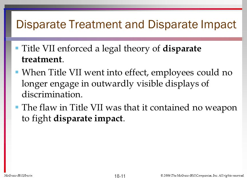 Disparate Treatment and Disparate Impact